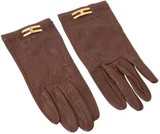 Hermes Vintage Brown Leather Gloves