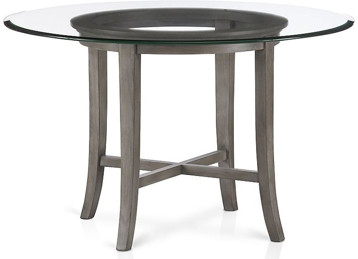 "Crate & Barrel Halo Grey Round Dining Table with 42"" Glass Top"