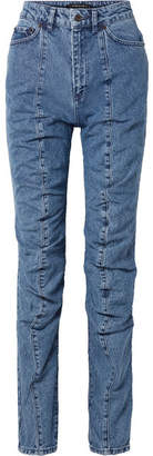 Y/Project Paneled High-rise Straight-leg Jeans - Mid denim
