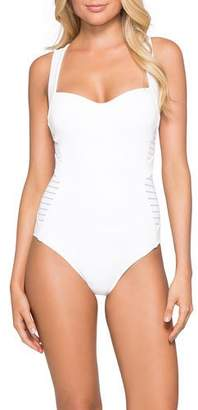 Jets Banded Side-Stripe One-Piece Swimsuit