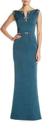 Zac Posen Jewel-Detailed Sleeveless Column Evening Gown
