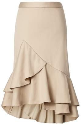 Banana Republic Petite Asymmetric Ruffle-Hem Pencil Skirt