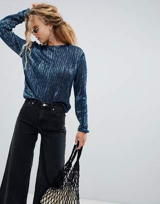 Weekday sequin long sleeve top in Petrol blue