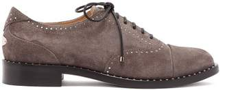 Jimmy Choo Reeve Studded Suede Brogues - Womens - Grey