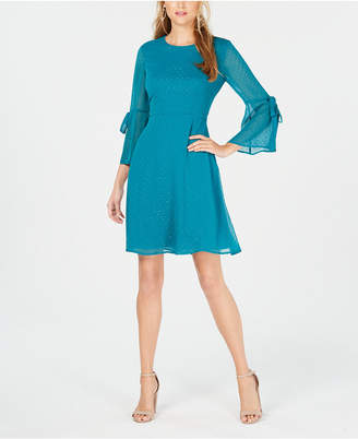 Nine West Bell-Sleeve Fit & Flare Dress
