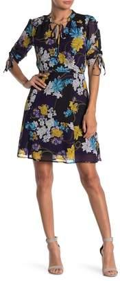 Sharagano Floral Keyhole Drawstring Sleeve Chiffon Dress