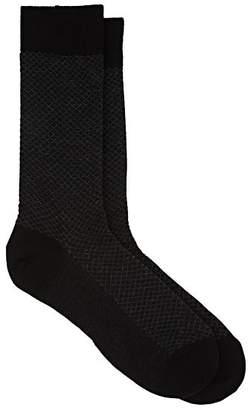 Barneys New York Men's Grid-Jacquard Wool-Blend Mid-Calf Socks - Black