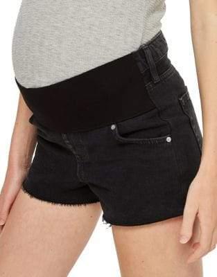 Topshop MATERNITY Washed Black Mom Shorts