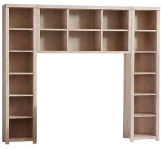 Pottery Barn Teen Costa Bookcase And Double Hutch Set, Queen, Weathered White