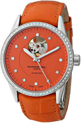 Raymond Weil Women's 2750-SLS-61081 Freelancer Diamond-Accented Stainless Steel Automatic Watch with Leather Band