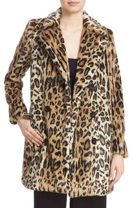Women's Alice + Olivia 'Montana' Leopard Print Faux Fur Double Breasted Coat $595 thestylecure.com
