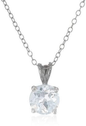 Sterling Silver 8mm Round Topaz Pendant Necklace