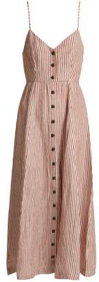 Mara Hoffman Morgan Striped Linen Midi Dress - Womens - Brown Stripe