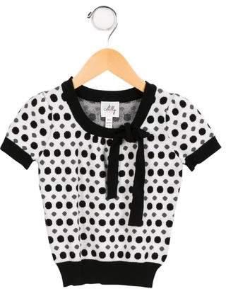 Milly Minis Girls' Knit Polka Dot Top