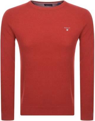 Textured Cotton Pique Jumper Red