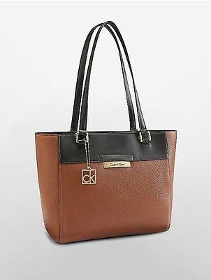 Calvin KleinCalvin Klein Womens Pebble Leather Tote Luggage/Black