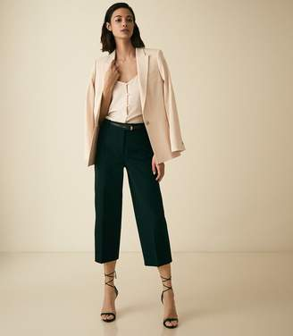 Reiss FAITH COTTON BLEND CROPPED TAILORED TROUSERS Dark Green