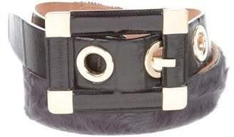 Dolce & Gabbana Fur-Trimmed Eel Skin Belt