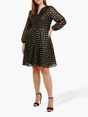 Studio 8 Davina Jacquard Dress, Black/Gold