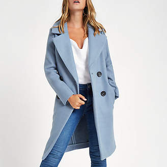 River Island Womens Petite blue long double breasted coat