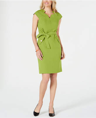 Kasper Stretch Crepe Belted Sheath Dress