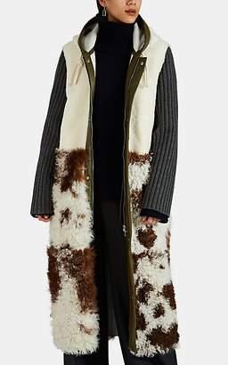 PLAN C Women's Shearling Hooded Coat - White