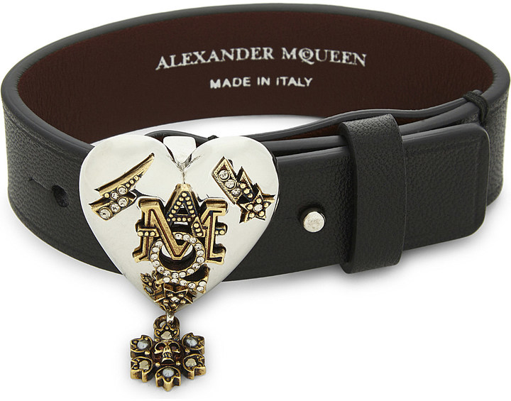 Alexander McQueenAlexander Mcqueen AMQ heart leather bracelet