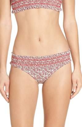 Tory Burch Costa Smocked Bikini Bottoms