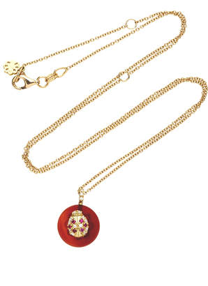 Coexist Noush Jewelry Lady Bug On Carnelian Necklace