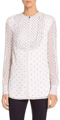St. John Small Dot Print Silk Crinkle Georgette Blouse
