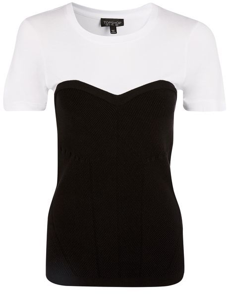 Topshop Topshop Corset detail knitted t-shirt