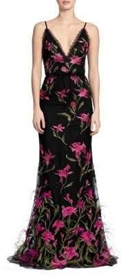 Marchesa Floral Embroidered Feather Trim Gown