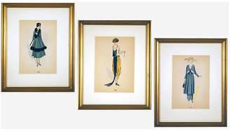 One Kings Lane Vintage Framed Fashion Prints Set of 3