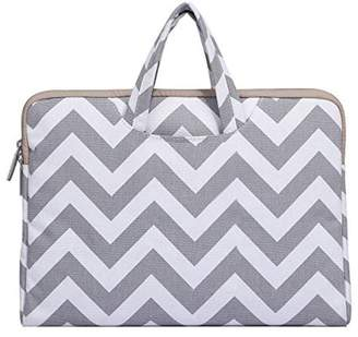 Mosiso Chevron Style Canvas Fabric Laptop Briefcase Handbag Carrying Case Cover for 15-15.6 Inch MacBook Pro, Notebook Computer, Gray