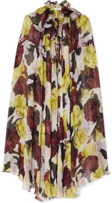 Erdem Perdita Ruffled Floral-print Chiffon Cape - Yellow
