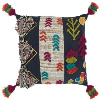 """Rizzy Home Multi-Color Abstract 20""""X20"""" Polyester Filled Pillow"""