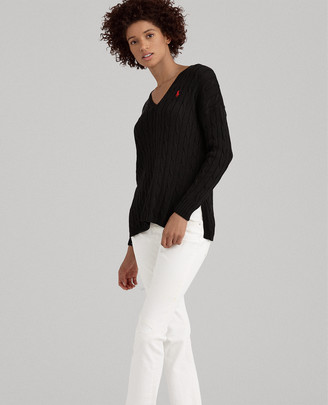 Ralph Lauren Cable-Knit Side-Slit Sweater