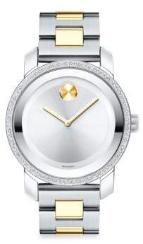 Movado Bold Iconic Diamond and Stainless Steel Bracelet Watch