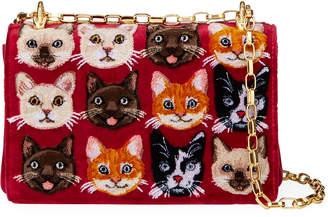 Dolce & Gabbana Velvet Cat-Print Crossbody Bag