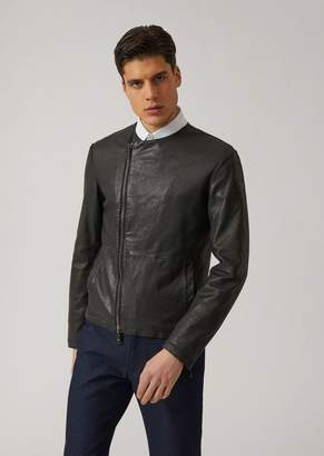 Emporio Armani Leather Jacket With Small Logo
