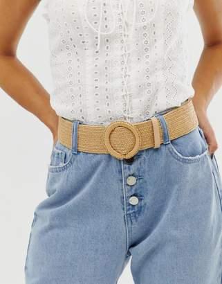 New Look straw stretch waist belt in stone