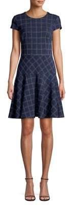 Eliza J Windowpane Cotton-Blend Mini Dress