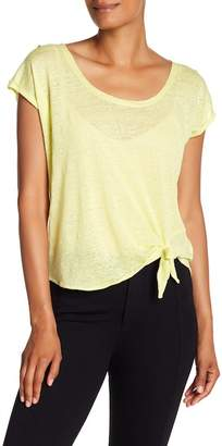 Acrobat Linen Side Tie Scoop Neck Tee