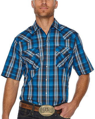 Ely Cattleman Short Sleeve Plaid Snap-Front Shirt-Big and Tall