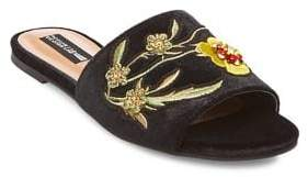 Design Lab Fleur Embroidered Velvet Sandals