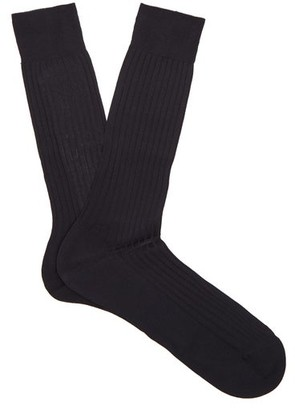 Pantherella - Danvers Ribbed Knit Socks - Mens - Navy