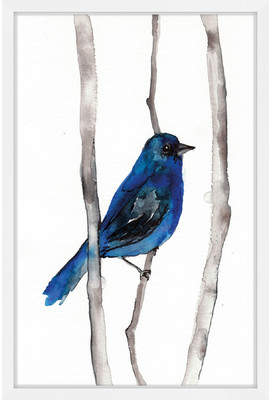 Wayfair 'Indigo Bunting' by Christine Lindstrom Framed Painting Print