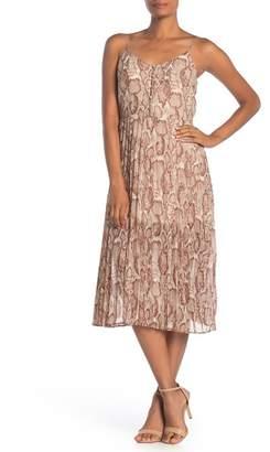 Free Press Sleeveless Button Pleated Midi Dress
