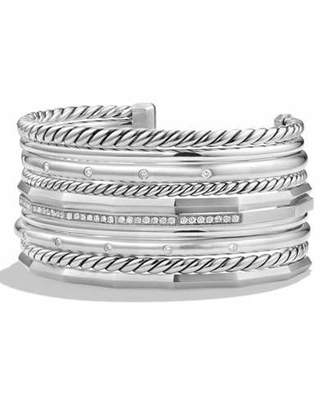 David Yurman Stax Wide Cuff Bracelet with Diamonds