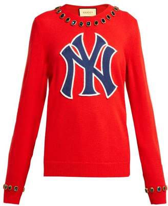 Gucci Ny Yankees Crystal Embellished Wool Sweater - Womens - Red Multi